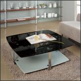 Стол журнальный A1266C (хром, стекло черное с блестками GA001)