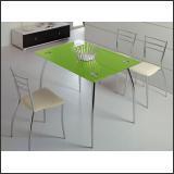 Стол обеденный B2206 (хром, стекло салатовое GREEN)
