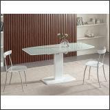Стол обеденный B2396-1 (белый глянец W023, стекло белое)