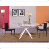 Стол обеденный B2401 (белый глянец W023, стекло белое)