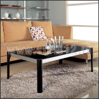 Стол журнальный A1265 (черный глянец W022, стекло черное BLACK)