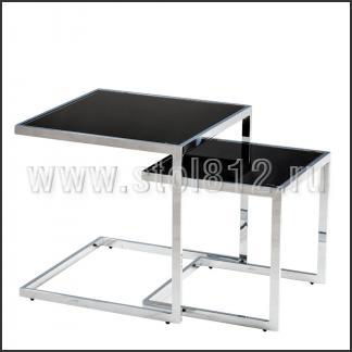 Стол журнальный A1289 (хром, стекло черное BLACK)
