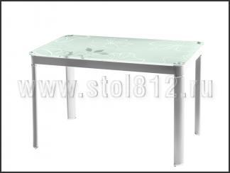 Стол обеденный B12 (белый, стекло белое с рисунком)