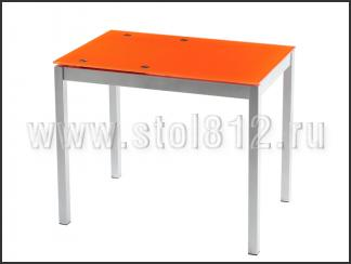 Стол обеденный B2170-1 (мат, стекло оранжевое ORANGE, вставка оранжевая)