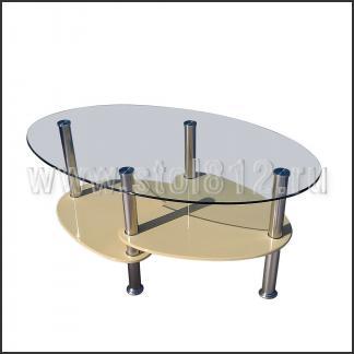 Стол журнальный CT555D (хром, глянец бежевый)