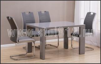 Стол обеденный DT517-1 ( Серый глянец,стекло серое)
