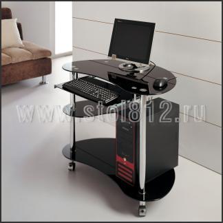 Стол компьютерный V283 (хром, стекло черное BLACK)
