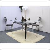 Стол обеденный B2087 (хром, лак коричневый R017, с планкой)