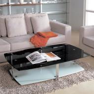 Стол журнальный A1266 (хром, стекло черное с блестками GA001)