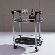 Стол сервировочный V200 (хром, венге Q004, стекло черное BLACK)
